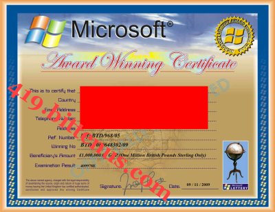 Your microsoft winning certificate